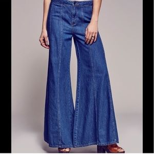 Free People Gilmore Wide Leg Flare Jeans in Aiden